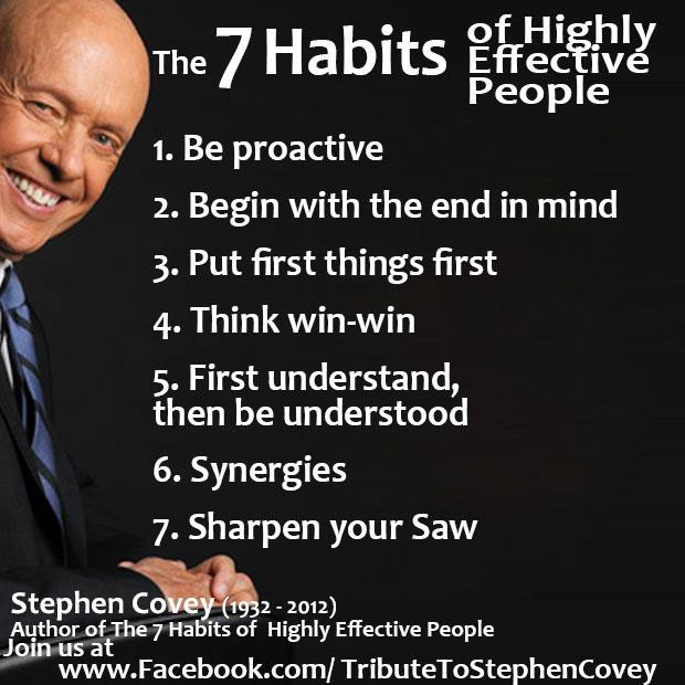 stephen covey 7 habits of highly Books: the 7 habits of highly effective people ®: stephen r covey's book, the 7 habits of highly effective people ®, has been a top-seller for the simple reason that it ignores trends and pop psychology for proven principles of fairness, integrity, honesty, and human dignity.
